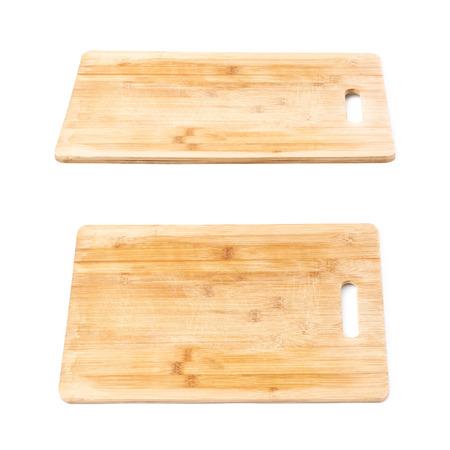 Occasion planche de bois de cuisine de coupe isolé sur fond blanc, set de deux raccourcis différents