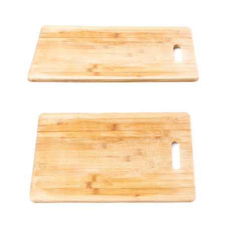 cutting: Used wooden cutting kitchen board isolated over the white background, set of two different foreshortenings