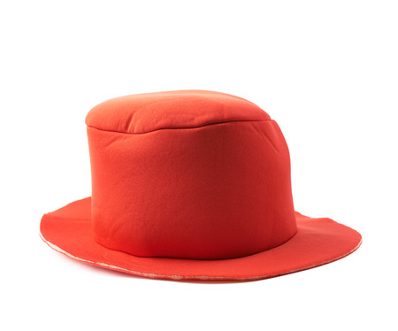 prop: Red prop clowns hat isolated over the white background