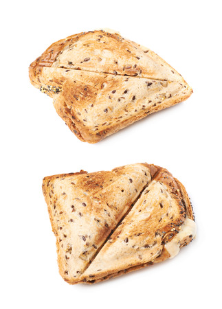 toasted sandwich: Press toasted sandwich panini isolated over the white background, set of two different foreshortenings