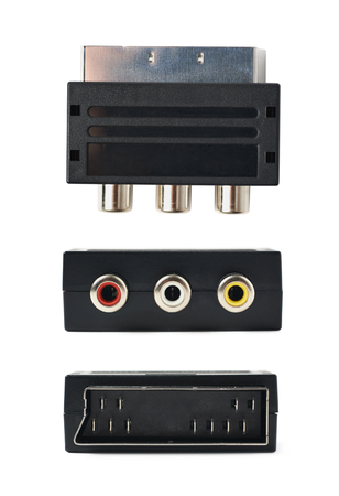 scart: Male SCART AV black plastic adaptor isolated over the white background, set of three different foreshortenings