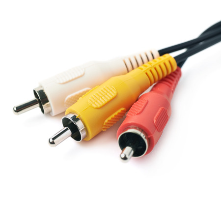 interconnect: RCA plugs cable for composite video and stereo audio isolated over the white background Stock Photo