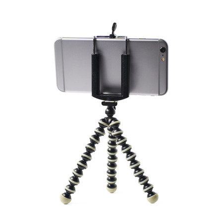 stabilization: Smartphone set up on a tripod isolated over the white background Stock Photo