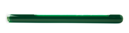 metodo cientifico: Glass test-tube filled with the green liquid, isolated over the white background