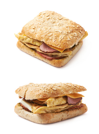 sandwitch: Home made sandwich with a white bread bun, isolated over the white background, set of two different foreshortenings Stock Photo