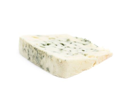 roquefort: Slice of a blue roquefort cheese isolated over the white background Stock Photo