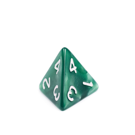 roleplaying: Green roleplaying polyhedral tetrahedron gaming plastic dice isolated over the white background Stock Photo