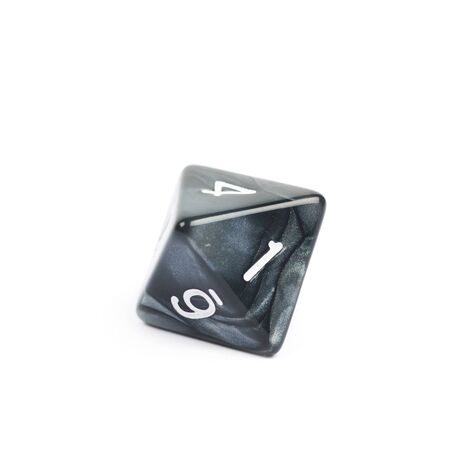 dungeons: Roleplaying black polyhedral octahedron gaming plastic dice isolated over the white background