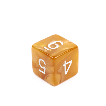 dungeons: Roleplaying orange polyhedral gaming plastic dice cube isolated over the white background