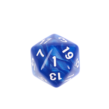 roleplaying: Blue roleplaying polyhedral icosahedron gaming plastic dice isolated over the white background