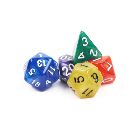 roleplaying: Pile of colorful roleplaying polyhedral dices isolated over the white background