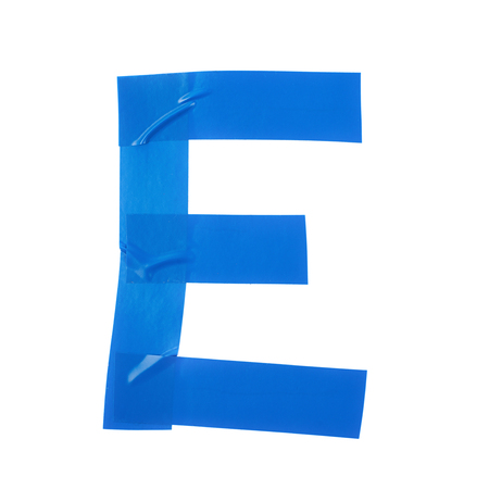 duct: Letter E symbol made of insulating tape pieces, isolated over the white background