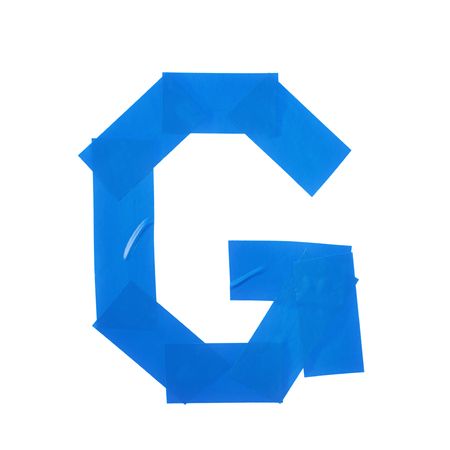 duct: Letter G symbol made of insulating tape pieces, isolated over the white background