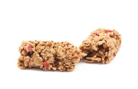 nutrient: Broken in two parts nutrient chewy grains bar isolated over the white background