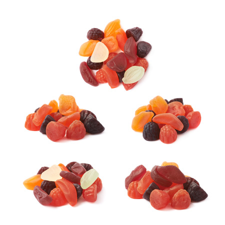 chewy: Pile of fruit shaped gelatin based chewy candies isolated over the white background, set of five different foreshortenings