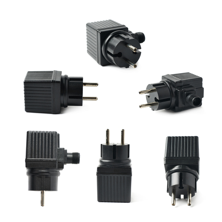 electrify: Black plastic electric adapter isolated over the white background, set collection of six different foreshortenings Stock Photo