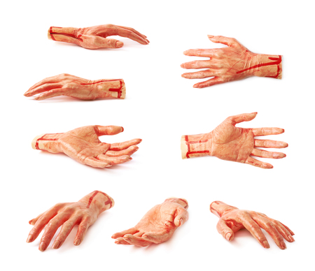 severed: Fake rubber severed hand as a Halloween prank toy, isolated over the white background, set of multiple different foreshortenings