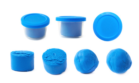 child's play clay: Piece of a blue modelling clay isolated over the white background, set of seven different foreshortenings