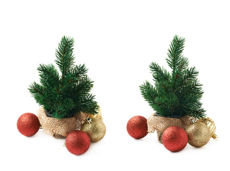 stock photo tiny christmas tree decorated with balls composition isolated over the white background set of two different foreshortenings - Miniature Christmas Tree Decorations