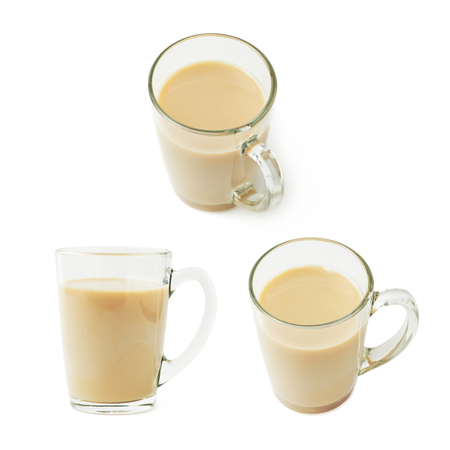 irish culture: Glass mug filled with coffee milk latte or cappuccino isolated over the white background, set collection of three different foreshortenings Stock Photo