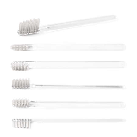 bristles: Brand new transparent plastic toothbrush with a white bristles isolated over the white background, set of six different foreshortenings