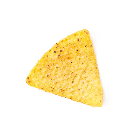 corn chip: Single yellow corn tortilla chip isolated over the white background Stock Photo