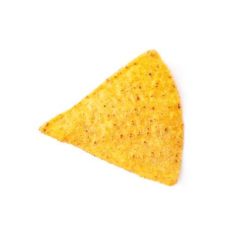 tortilla de maiz: Single yellow corn tortilla chip isolated over the white background Foto de archivo