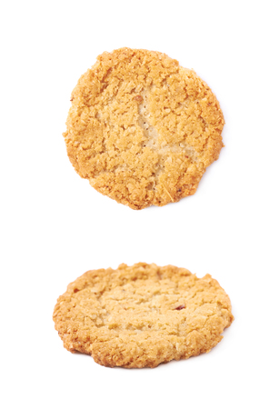 oatmeal cookie: Thin oatmeal cookie isolated over the white background, set of two different foreshortenings Stock Photo