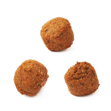 ball isolated: Cheese snack ball coated with the breadcrumbs, composition isolated over the white background, set of three different foreshortenings