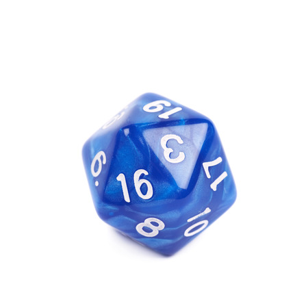 throw up: Blue roleplaying polyhedral icosahedron gaming plastic dice isolated over the white background