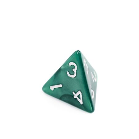 dungeons: Green roleplaying polyhedral tetrahedron gaming plastic dice isolated over the white background Stock Photo