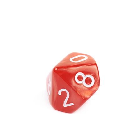 throw up: Red roleplaying polyhedral heptagonal trapezohedron gaming plastic dice isolated over the white background