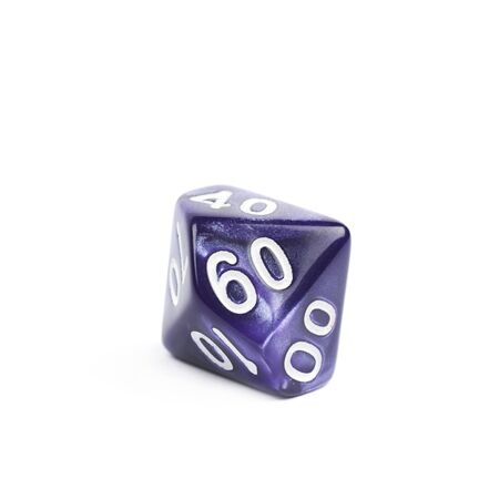 dungeons: Violet roleplaying polyhedral heptagonal trapezohedron gaming plastic dice isolated over the white background Stock Photo