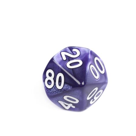 roleplaying: Violet roleplaying polyhedral heptagonal trapezohedron gaming plastic dice isolated over the white background Stock Photo