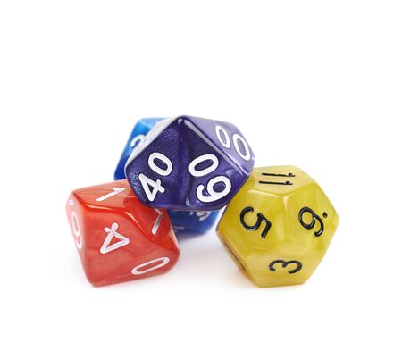throw up: Pile of colorful roleplaying polyhedral dices isolated over the white background