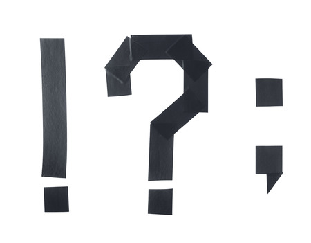 comma: Set of punctuation marks, such as exclamation and question mark, period, comma made of insulating tape pieces, composition isolated over the white background Stock Photo