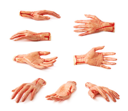 prank: Fake rubber severed hand as a Halloween prank toy, isolated over the white background, set of multiple different foreshortenings
