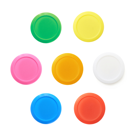 childs play clay: Modeling clay in a plastic container isolated over the white background, set of seven different colors
