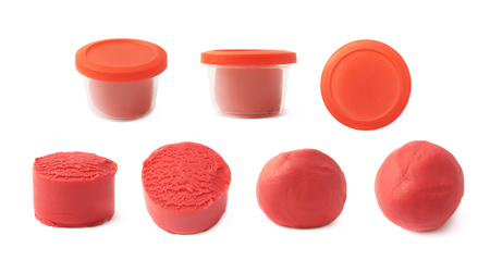 modelling clay: Piece of a red modelling clay isolated over the white background, set of seven different foreshortenings Stock Photo