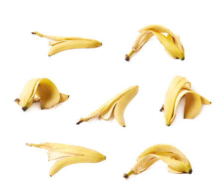 banana skin: Banana peel skin isolated over the white background, set collection of seven different foreshortenings Stock Photo
