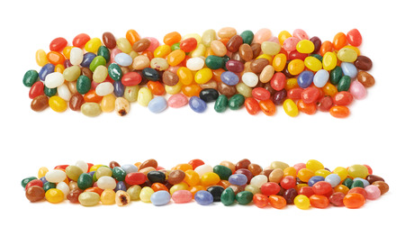 jellybean: Decorational line made of colorful jelly bean candies isolated over the white background, set of two different foreshortenings