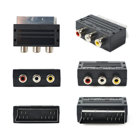scart: Male SCART AV black plastic adaptor isolated over the white background, set of six different foreshortenings