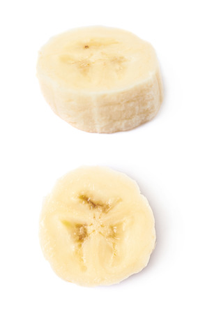 banana slice: Banana slice isolated over the white background, set of two different foreshortenings