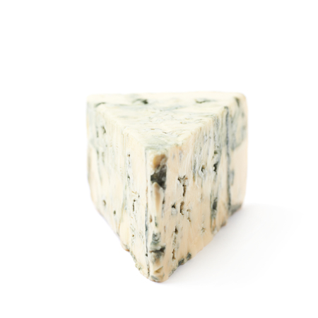 roquefort: Blue roquefort cheese isolated over the white background
