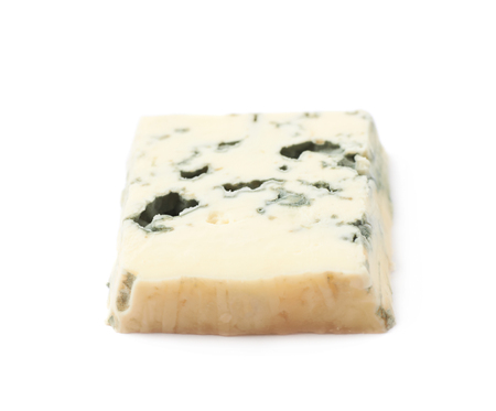 penicillium: Single slice of a blue roquefort cheese isolated over the white background Stock Photo
