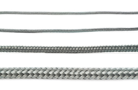 braided flexible: Fragment of gray rope isolated over the white background, set of four different foreshortenings Stock Photo