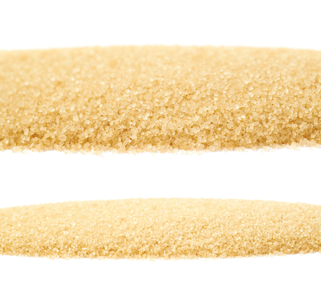 white sugar: Line of stevia cane sugar isolated over the white background, set of two different foreshortenings