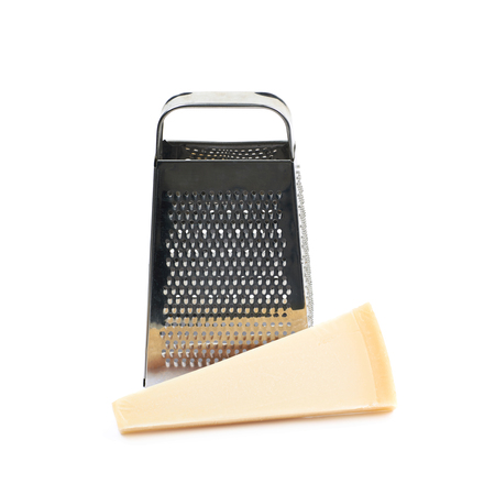 parmezan: Grater and Parmigiano-Reggiano parmesan cheese composition isolated over the white background
