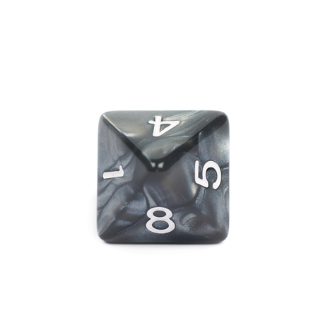 roleplaying: Roleplaying black polyhedral octahedron gaming plastic dice isolated over the white background