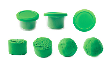 childs play clay: Piece of a green modelling clay isolated over the white background, set of seven different foreshortenings